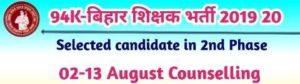 Bihar Shikshak Niyojan Selected Candidate List